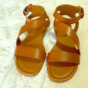 Brown vegan leather sandals!